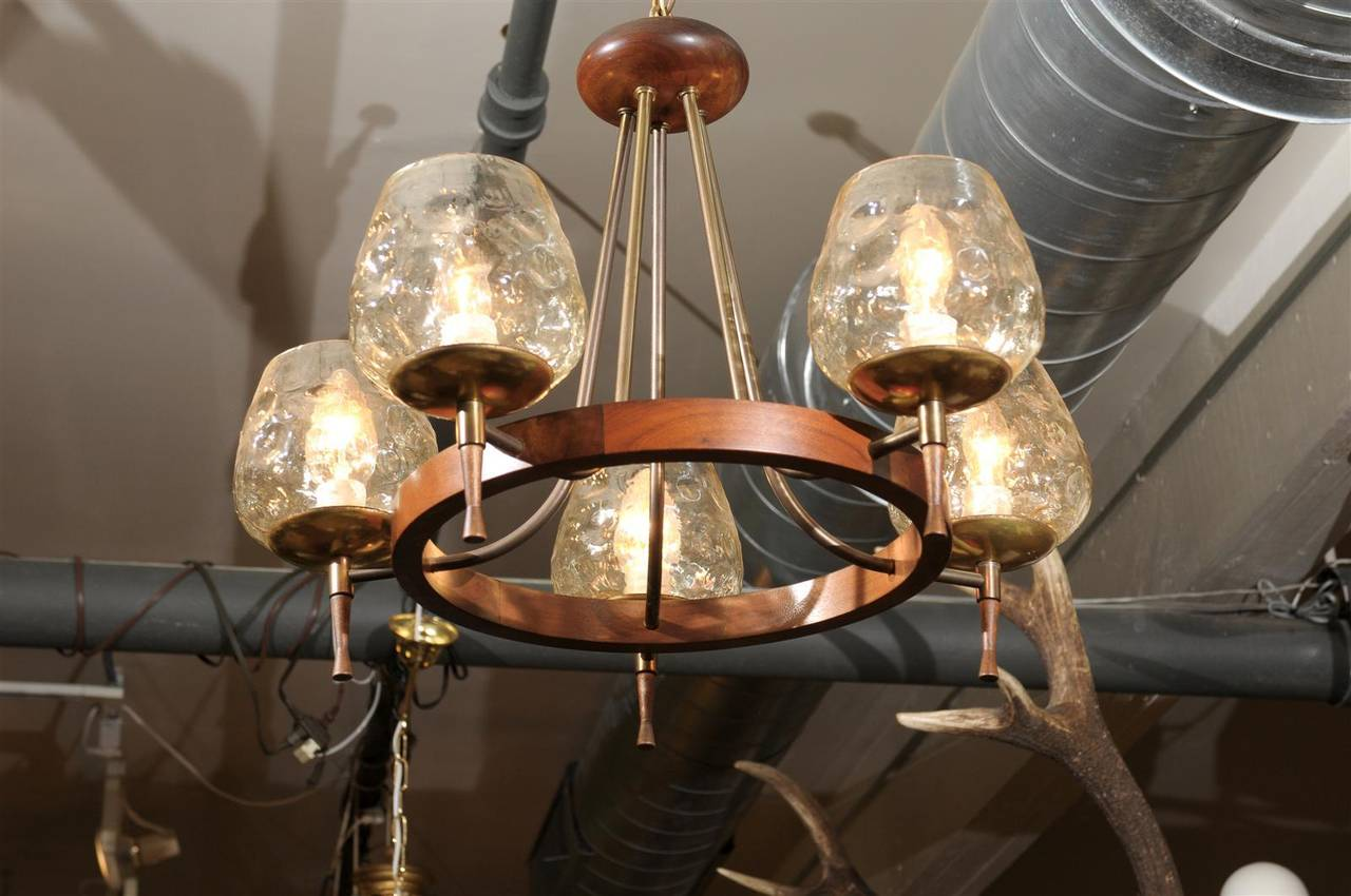 Mid Century Chandelier of Teak and Brass For Sale 3