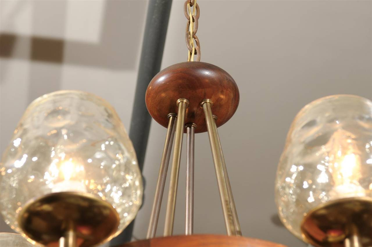 Mid Century Chandelier of Teak and Brass In Excellent Condition For Sale In Atlanta, GA