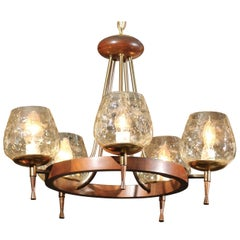 Mid Century Chandelier of Teak and Brass