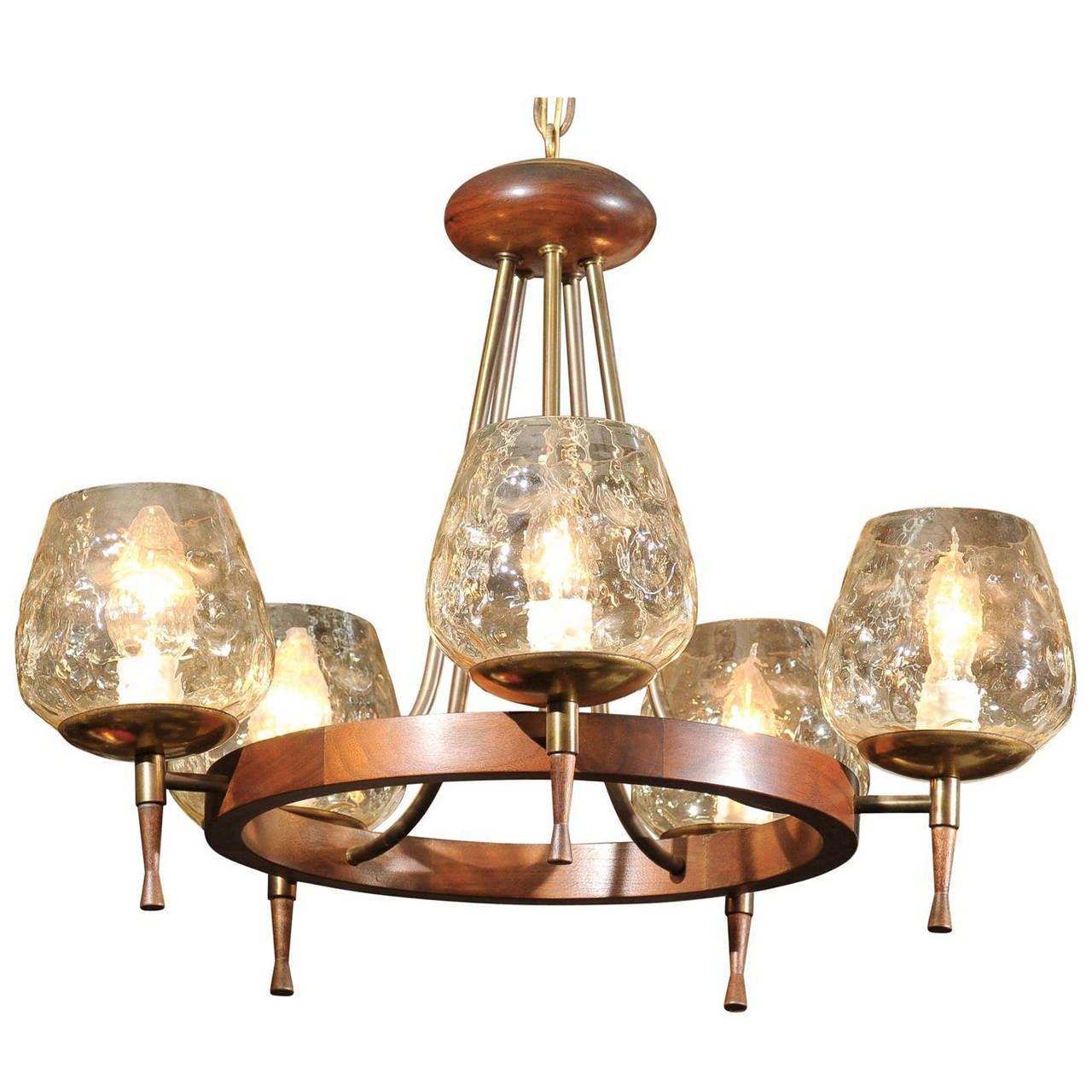 Mid Century Chandelier of Teak and Brass For Sale