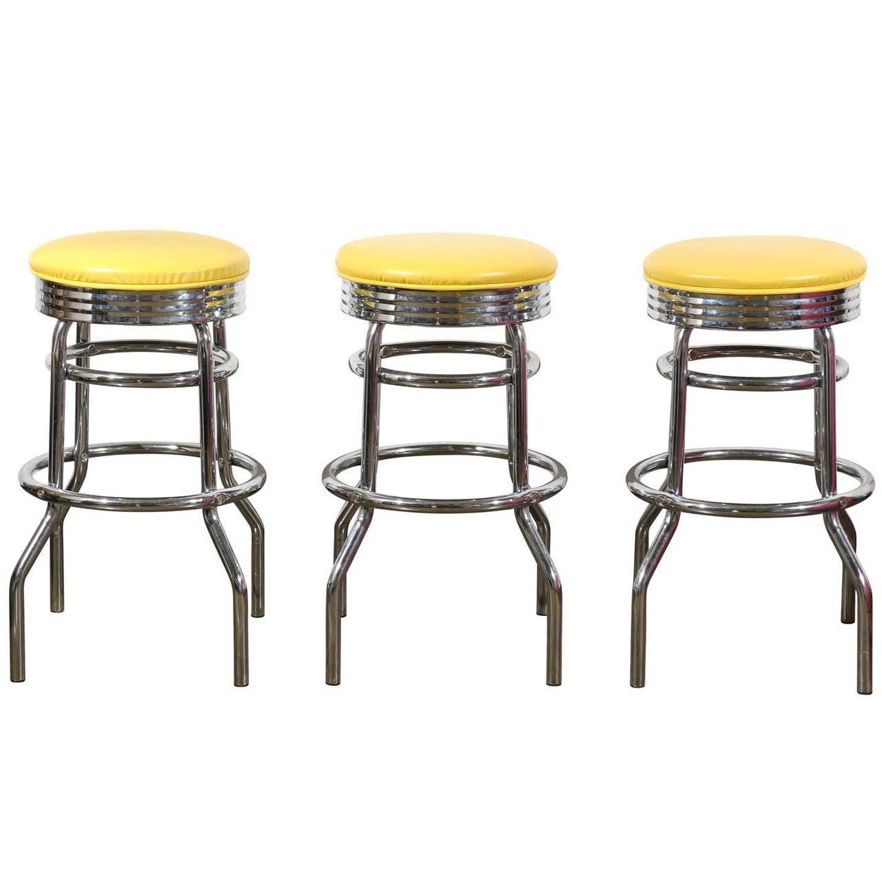 set of three swivel bar stools at 1stdibs. Black Bedroom Furniture Sets. Home Design Ideas