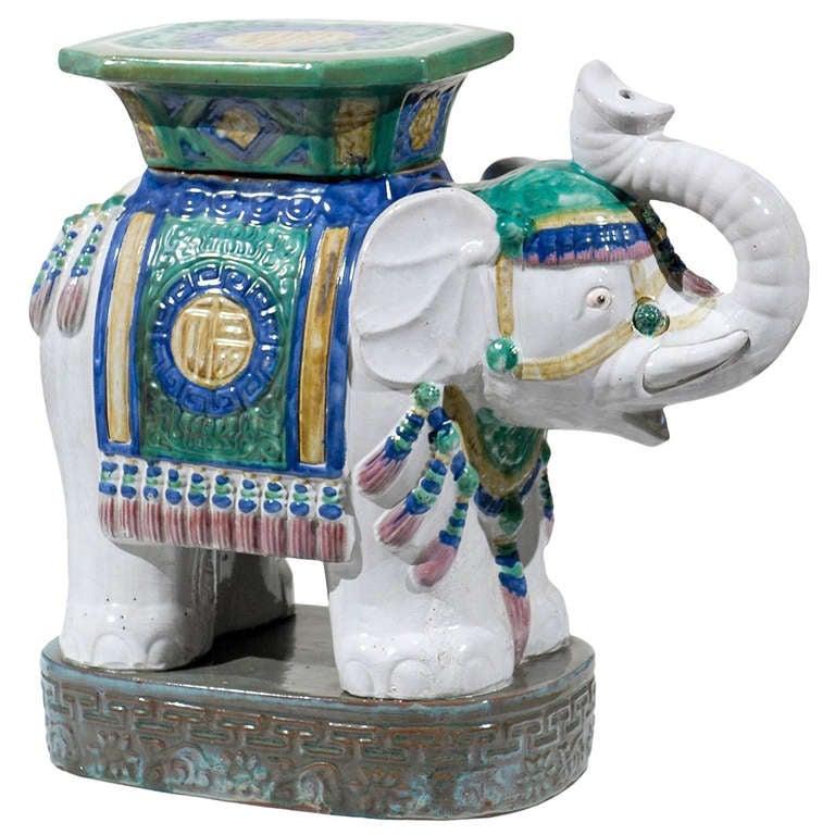 Vintage Elephant Garden Seat At 1stdibs