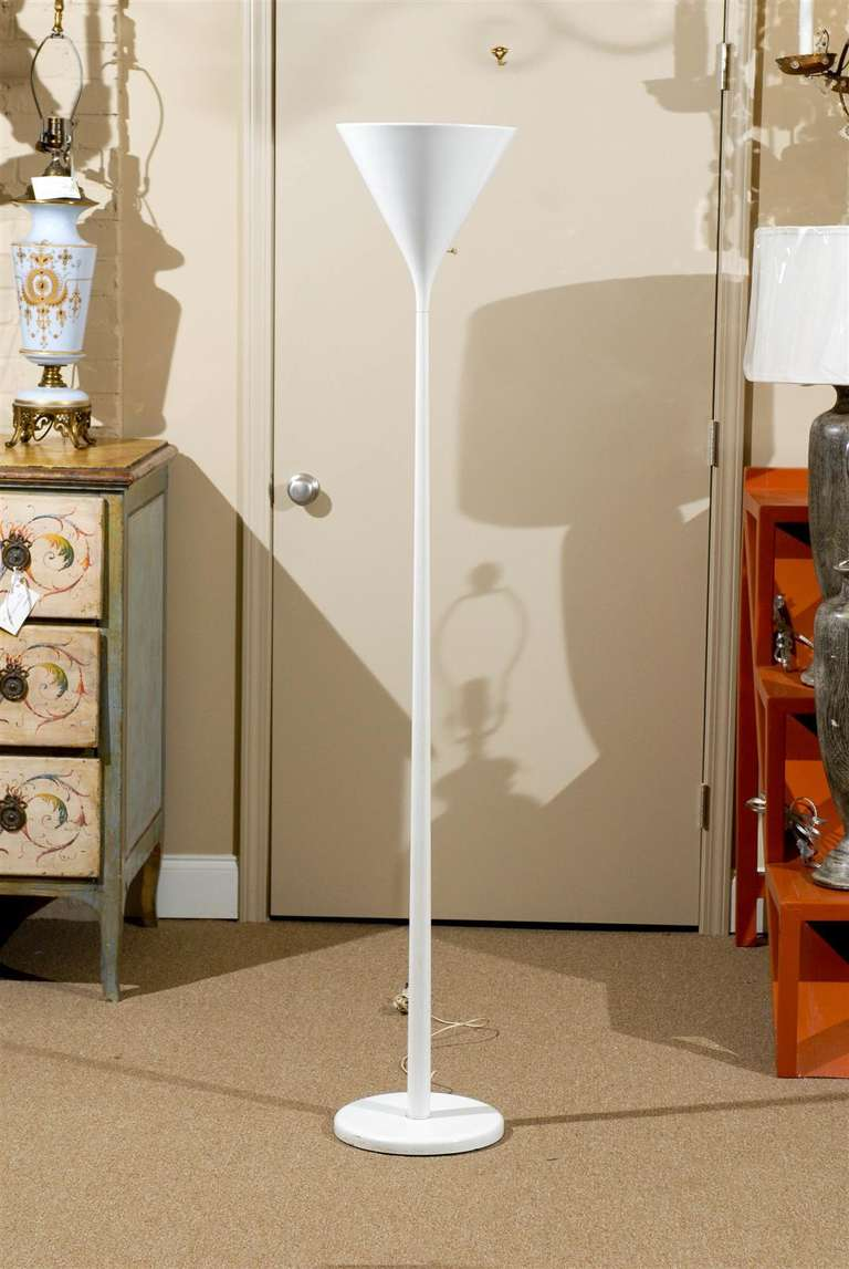 Pair of White Torchiere Floor Lamps by Nessen 2