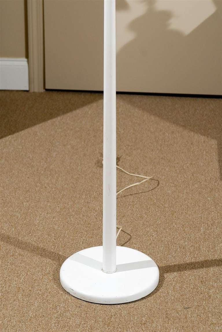Pair of White Torchiere Floor Lamps by Nessen 4