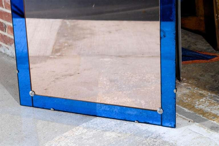 Italian Art Deco Mirror With Cobalt Blue Frame At 1stdibs