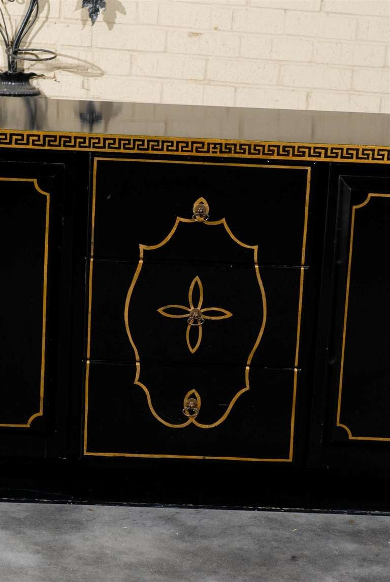 Hollywood Regency Black Lacquer And Gilt Credenza At 1stdibs