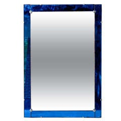 Italian Art Deco Mirror with Cobalt Blue Frame