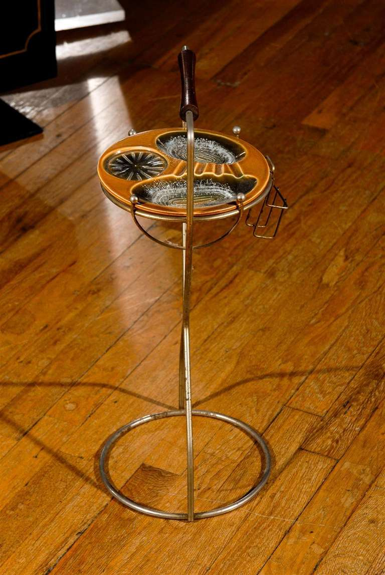 Mid Century Ceramic And Metal Smoking Stand At 1stdibs