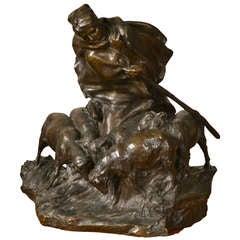 Bronze Statue of Shepherdess and Flock by Charles Korschann
