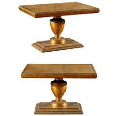 Pair of Hollywood Regency Gold Leaf Side Tables