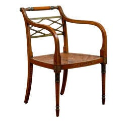 Regency Style Painted Armchair with Cane Seat