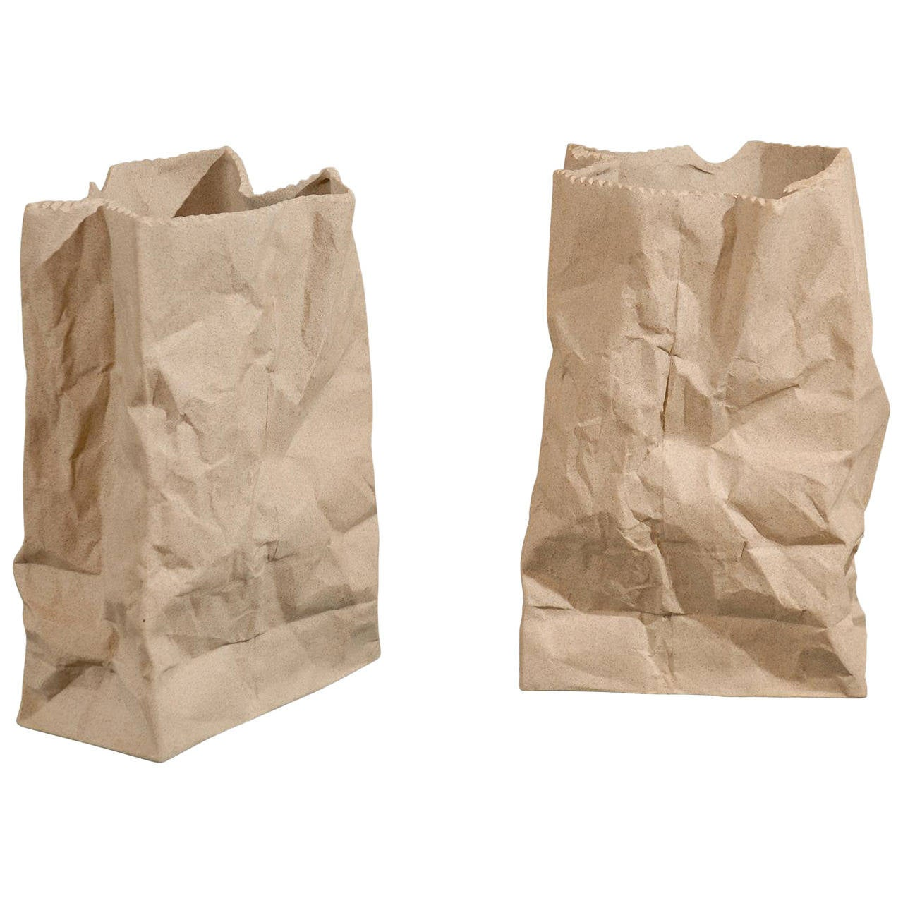 Pair Of Ceramic Paper Bag Vases At 1stdibs