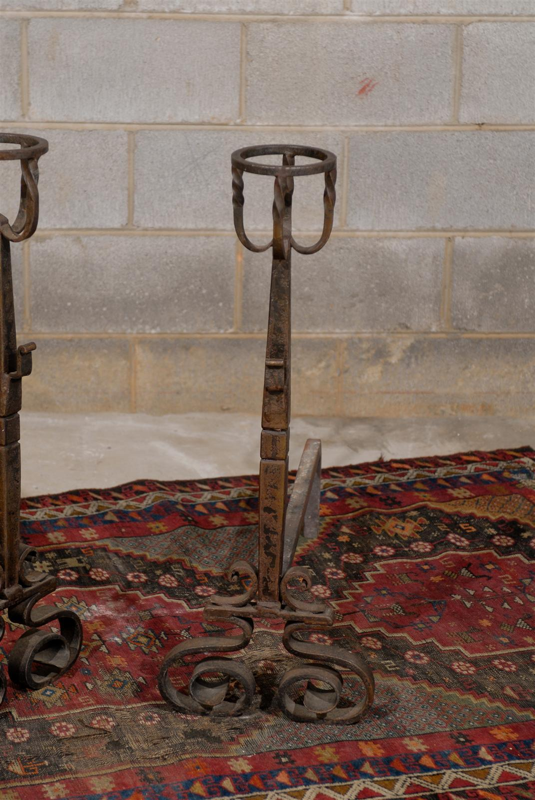 Tall Pair of French Wrought Iron Andirons For Sale 2