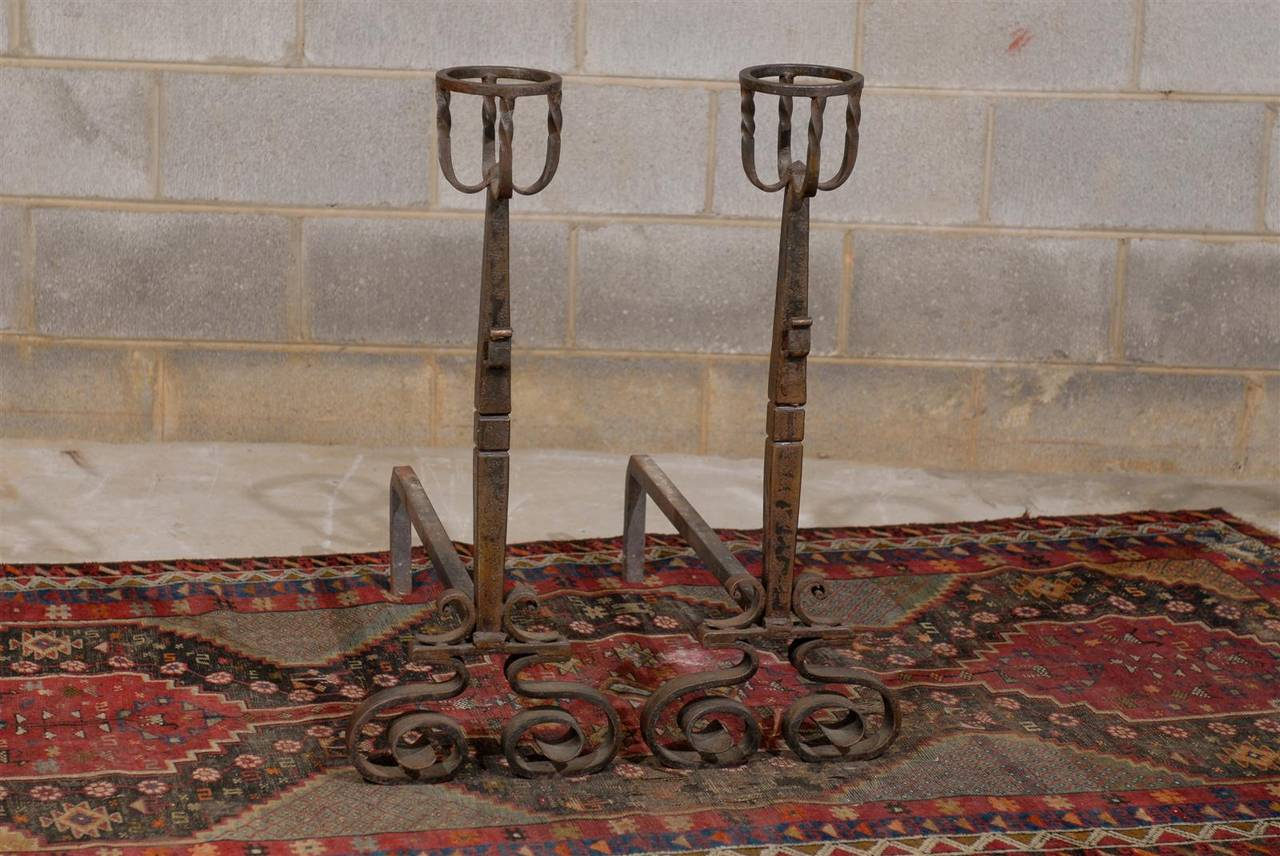 Tall Pair of French Wrought Iron Andirons For Sale 1