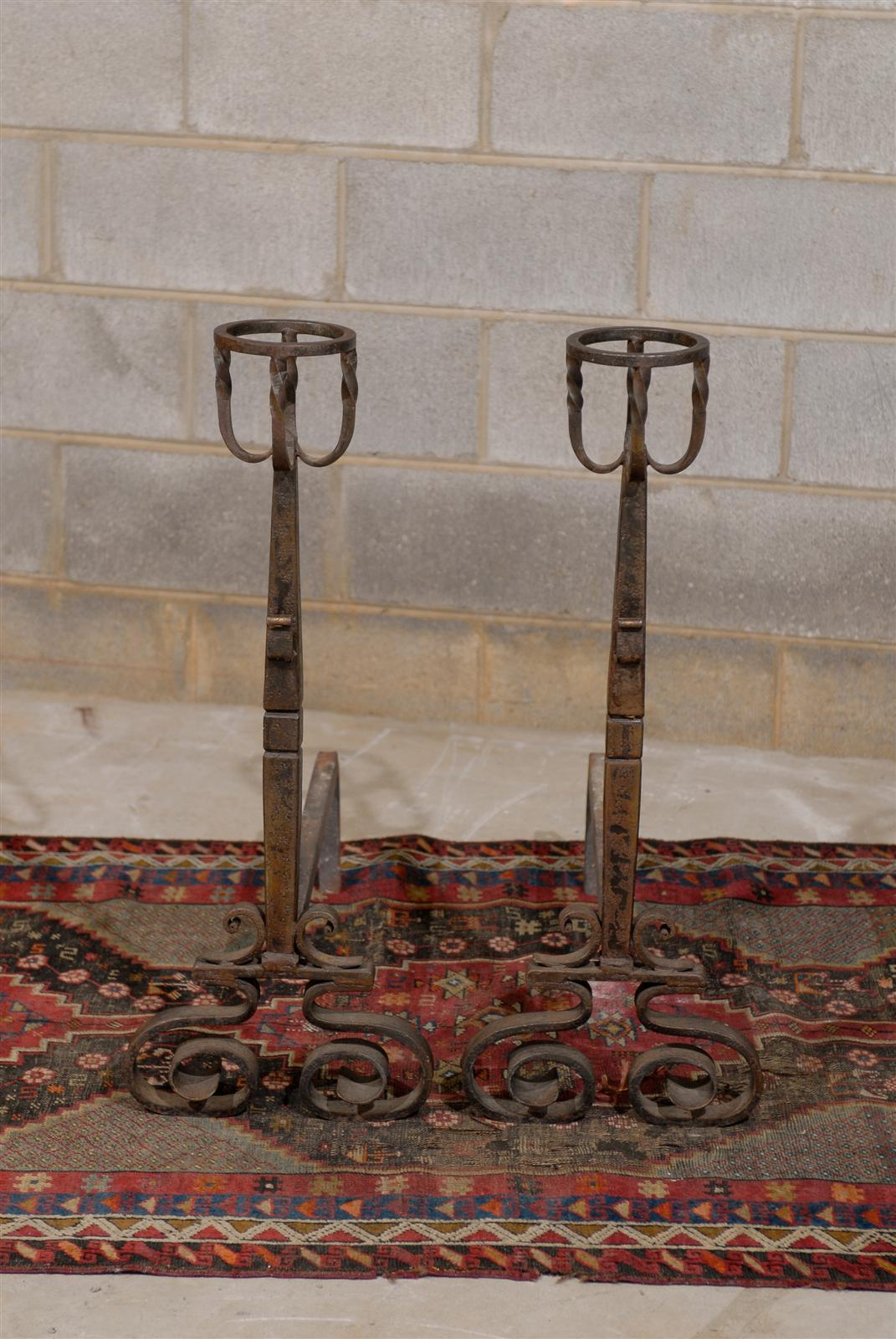 Tall Pair of French Wrought Iron Andirons In Excellent Condition For Sale In Atlanta, GA