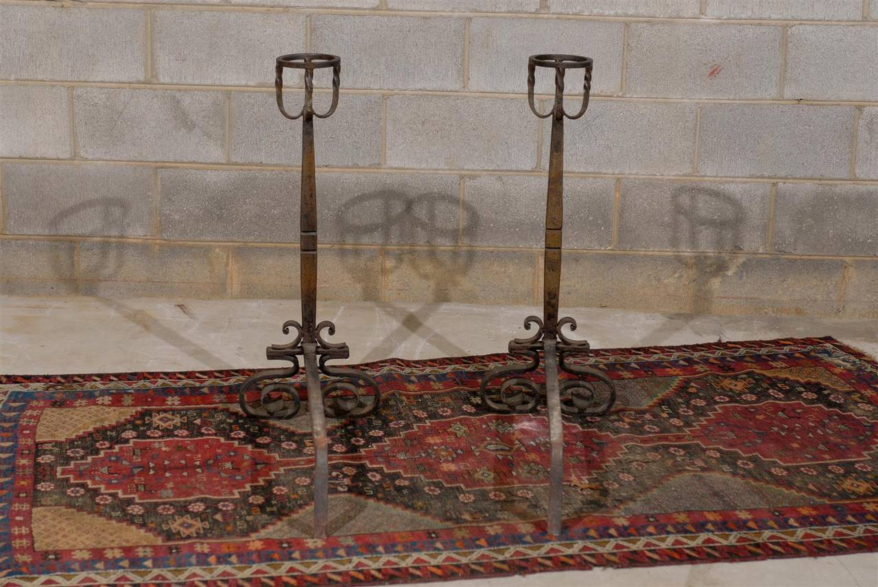 19th Century Tall Pair of French Wrought Iron Andirons For Sale