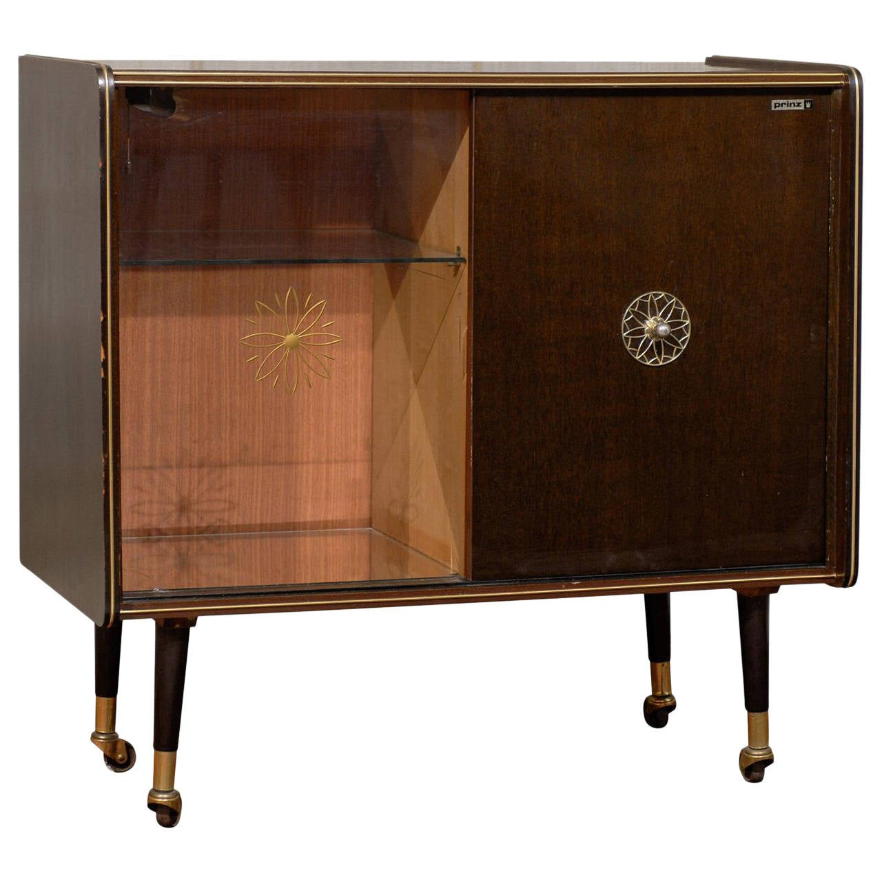 Mid Century Rolling Dry Bar Cabinet At 1stdibs