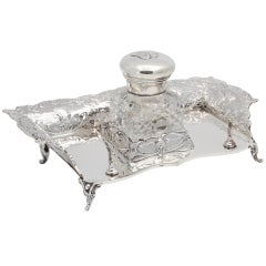 Victorian, Sterling Silver Footed Cherub-Motif Inkstand By William Comyns