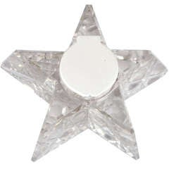 "Unusual Victorian Sterling Silver-Mounted Crystal ""Star,"" Form Inkwell"