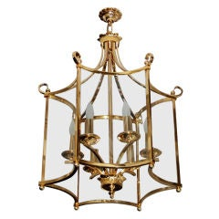 Goldplated Brass Hanging 6-Light Lantern