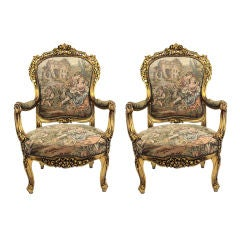 Two Fauteuils in the Louis XV Manner with French Gobelin Fabric