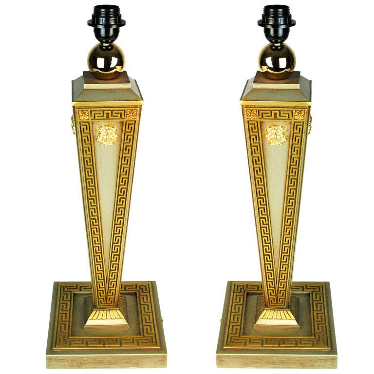 Pair Of Versace Goldplated Table Lamps At 1stdibs