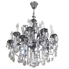 Silverplated and Patinated 15-Light Chandelier