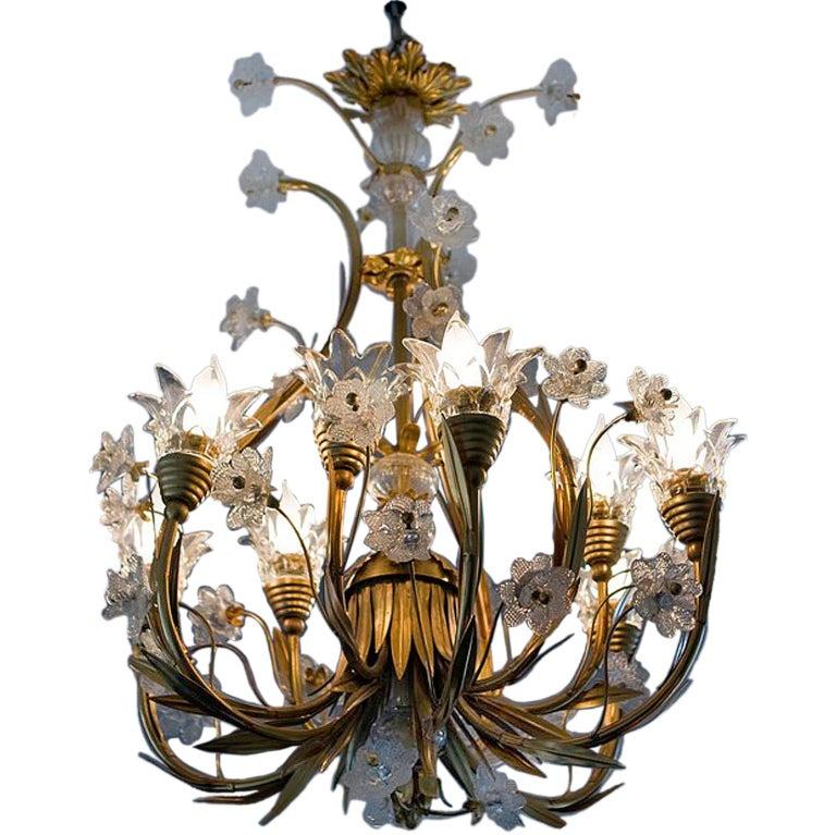 Banci Italian Goldplated Brass 8 Light Chandelier at 1stdibs
