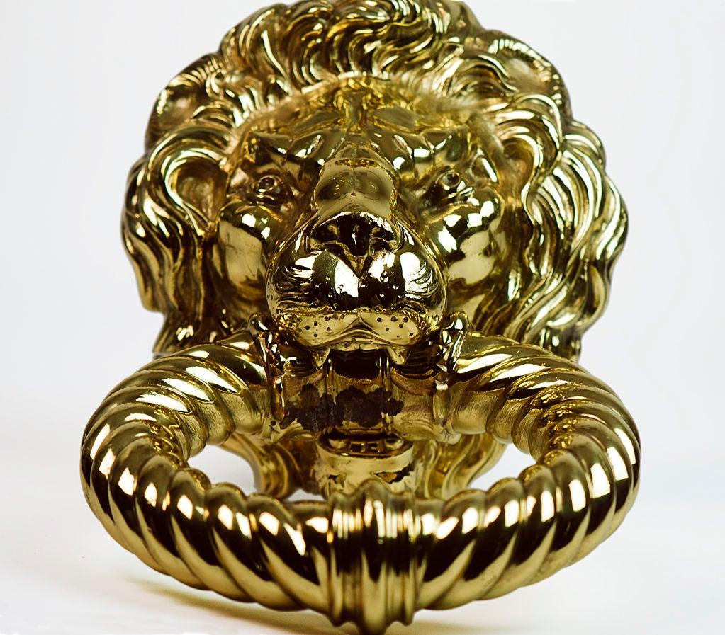 Polished brass lion 39 s head door knocker at 1stdibs - Lion face door knocker ...