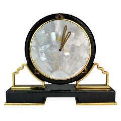Black Cartier Desk Clock in the Art Deco Style