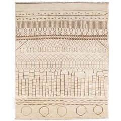 Contemporary Moroccan Rug Made Of Natural Cream And Brown