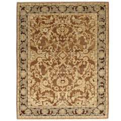 21st Century Hand-Knotted Beige and Brown Persian Sultanabad Carpet