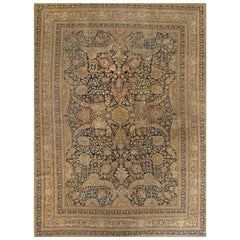 Antique Coral and Blue Persian Tabriz Rug