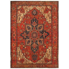 Antique Red and Blue Persian Serapi Carpet