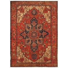 Antique Red and Blue Persian Serapi Carpet