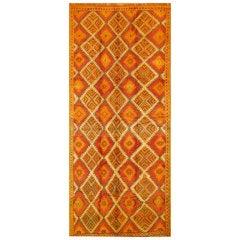 Orange/Red Geometric Moroccan Carpet, circa 1950s