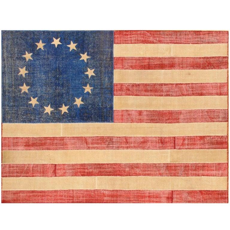 Vintage American Flag Patchwork Rug At 1stdibs