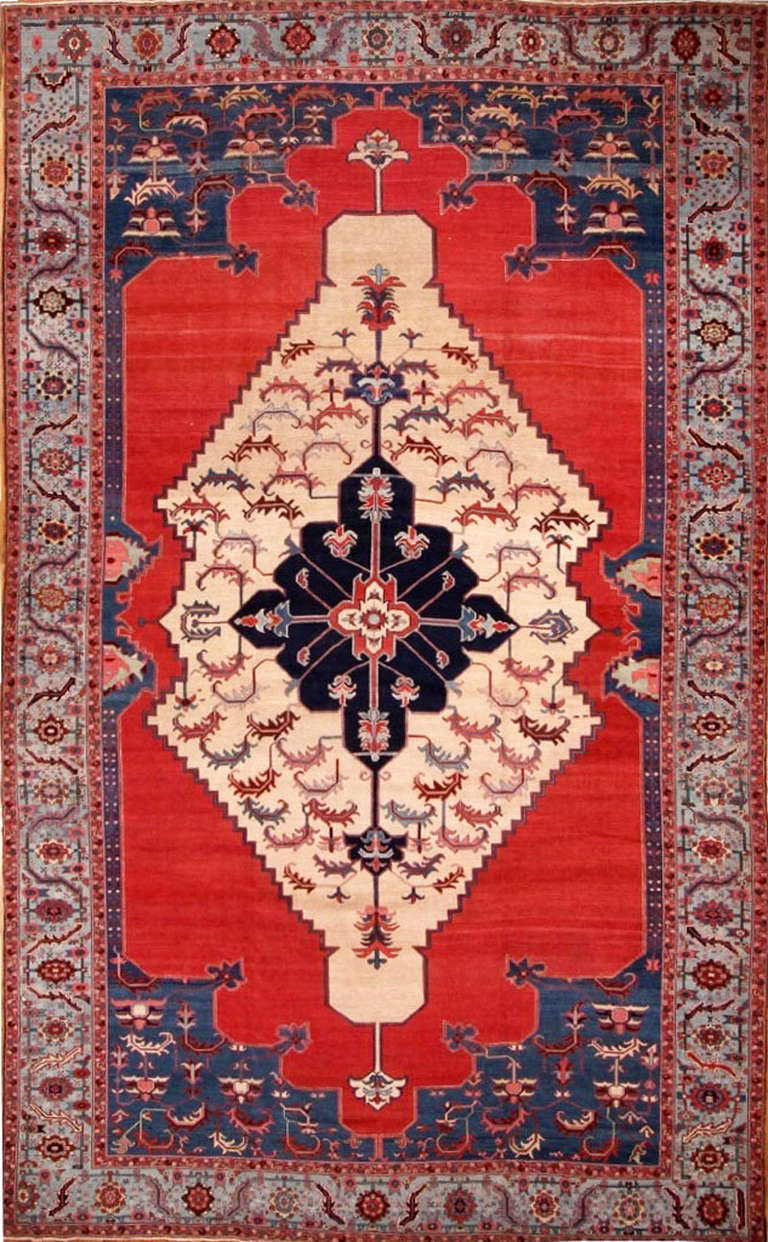 Late 20th Century Red Teal Persian Bahshaeish Rug For