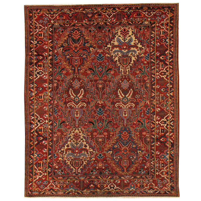 20th Century Red, Blue Floral Persian Bakhtiary Carpet