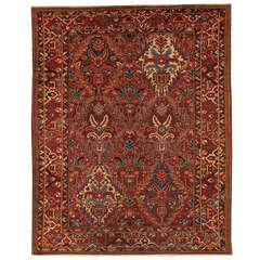 Early 20th Century Red, Blue Floral Persian Bakhtiary Carpet