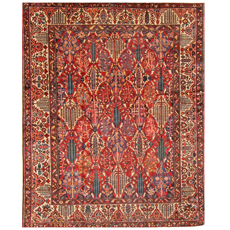 20th Century Red and Blue Floral Persian Bakhtiary Carpet