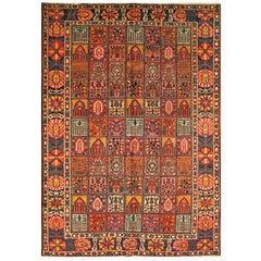 1920's Red and Blue Floral Persian Bakhtiary Carpet