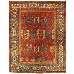 Late 20th Century Red, Blue Persian Bahshaeish Rug