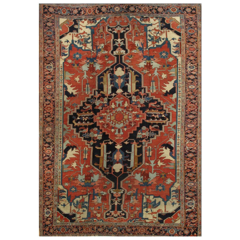 Lovely nice antique heriz serapi rug for sale at 1stdibs for Nice rugs for sale