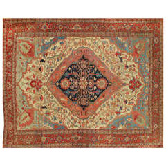 Late 19th Century Red, Blue Persian Serapi Carpet