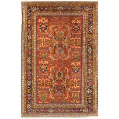 20th Century Rust and Blue Persian Sultanabad Rug