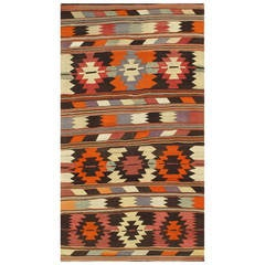 Vintage 1960s Multicolored Geometric Turkish Kilim Rug