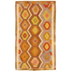 Vintage 1960's Geometric Turkish Kilim Rug