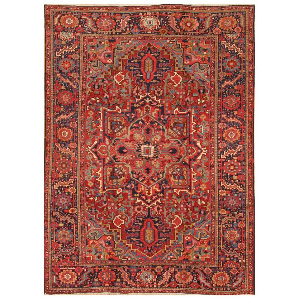 Early 20th Century Rust, Blue Persian Heriz Carpet