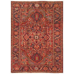 Early 20th Century Rust, Blue Persian Heriz Carpet